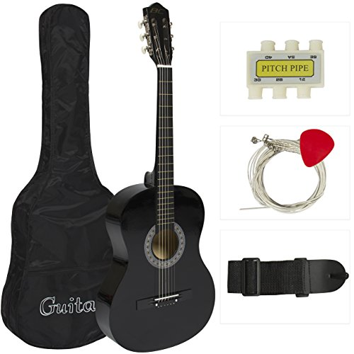 38-Black-Acoustic-Guitar-Starter-Package-Guitar-Gig-Bag-Strap-Pick
