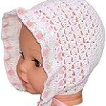 Crochet Newborn Girl Bonnet, Size: 0-3 M, Color: White