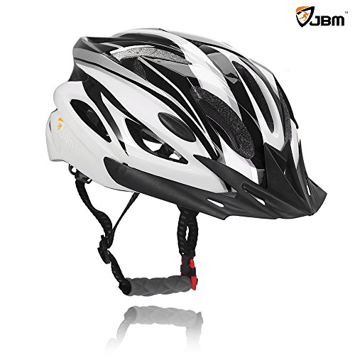 JBM Adult Cycling Bike Helmet Specialized for Mens Womens Safety Protection Red / Blue / Yellow (Black & White, Adult)
