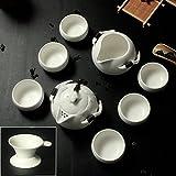 XDOBO Imported Vintage Chinese & Japanese Style Porcelain Handmade Kung Fu Tea Set, Set of 10 (White)