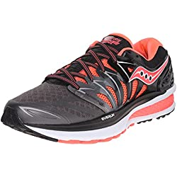 Saucony Women's Hurricane ISO 2 Running Shoe, Black/Charcoal/Coral, 8.5 M US