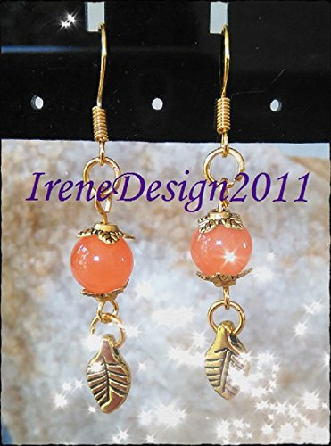 Orange Topaz & Leaves Earrings