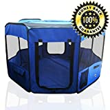 "ToysOpoly Pet Playpen 45"" Exercise Puppy Pen Kennel - Best for Dogs and Cats Safe in Their Play-pen While Protecting The Little Kids - Folding Design Easy Storage (Blue)"