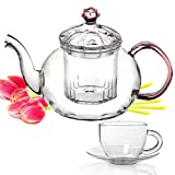 Tea Beyond Gift set GFS2013 Teapot Juliet (w/Glass strainer, hand crafted rose on top, HEAT RESISTANT & NON DRIPPING) & 2 sets of 5 oz Glass Teacup & saucer J