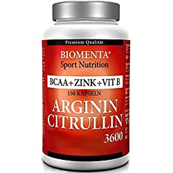 L-ARGININ-CITRULLIN 3600 mg Hochdosiert + BCAA 1000 mg + Zink, Vitamin B, Folsäure - 150 Kapseln - 1 Monatskur