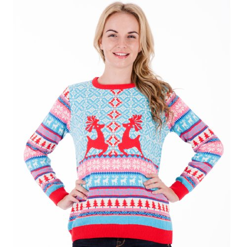 British Christmas Jumpers Women's Dancing Stags Christmas Sweater
