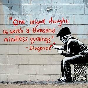 imagenation Banksy - One Original Thought - Framed Canvas ...