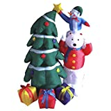5' Airblown Inflatable Snowman and Polar Bear with Christmas Tree Lighted Yard Art Decoration
