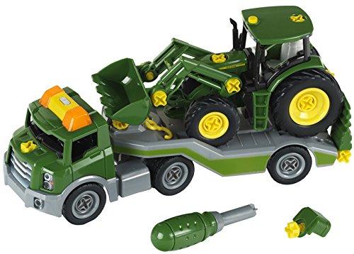 Theo-Klein-3908-Bau-und-Konstruktionsspielzeug-Transporter-mit-John-Deere-Traktor