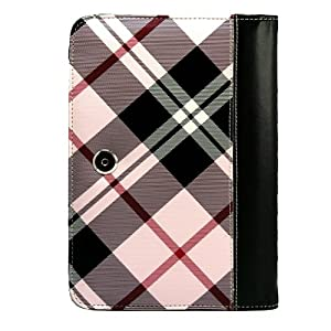 Professional Portfolio Cover Carrying Case , Plaid Pattern with Synthetic Leather Design Feature with Memory Card , Notepad and Pen Slots For Barnes & Noble NOOK COLOR eBook Reader Tablet + Includes a eBigValue (TM) Determination Hand Strap + Includes a Crystal Clear High Quality HD Noise Filter Ear buds Earphones Headphones ( 3.5mm Jack )