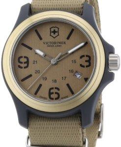 Victorinox Swiss Army - Reloj analógico de cuarzo para hombre con correa de tela, color beige