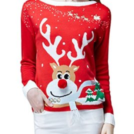 Women's Ugly Christmas Sweater, V28 Ladies Girls Cute Reindeer 3D Nose Sweater
