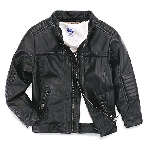 LJYH Boys leather jacket new spring children's collar motorcycle leather zipper coat (T9-10)