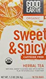 Good Earth Teas Organic Sweet and Spicy Caffeine Free Herbal 18 Tea Bags, 4 Count
