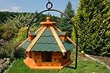XXL Vogelhaus mit Gauben Nr18 Dach grün und Bügel zum aufhängen von Vogelhaus, Nistkasten, Vogelhäuschen, Futterhaus, Vogelvilla und Vogelhäusern, feuerverzinkt und pulverbeschichtet, rostfrei, hängend