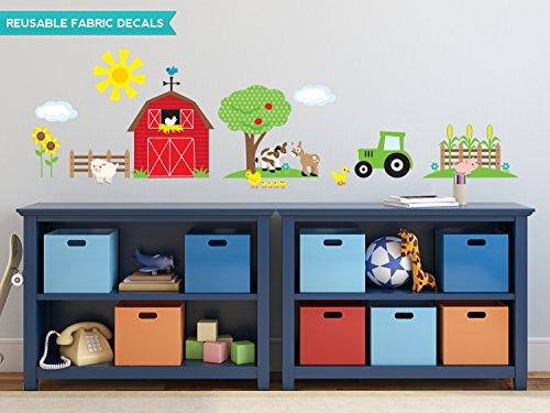 Farm Fabric Wall Decals with Repositionable and Reusable
