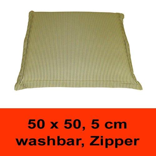 BALEA AFCG - UNIVERSAL-Sitzauflage mit Befestigungsband, geeignet für Gartenbänke, Gartenstühle und Balkonstühle, wasserabweisend, mit Zipper, 50 x 50 cm, 5 cm dick, creme / grün