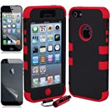 Aria Apple iPhone 5 Hard Hybrid Case Snap On Cover Black / Red Silicone TUFF Ec