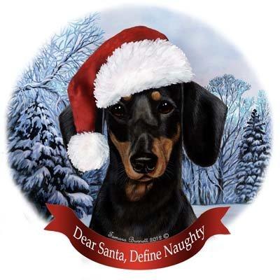 Dog in Santa Hat Porcelain Howliday Ornament