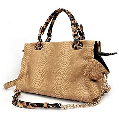 WINDA Oversize Beige Faux Crocodile / Leopard Animal Print Accents Double Top Handle Top Closure Shopper Tote Hobo Shoulder Bag Handbag Purse