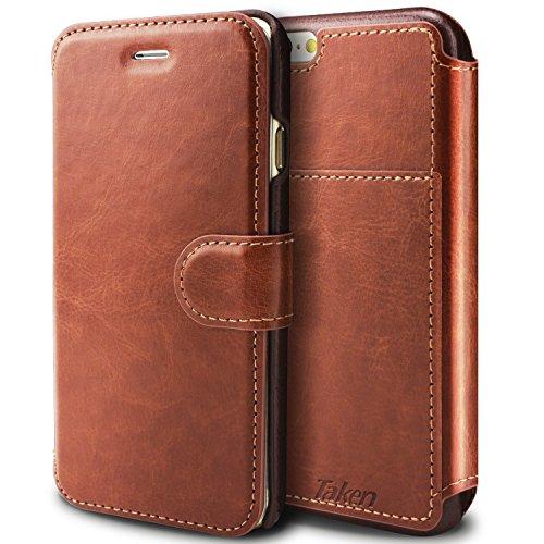 Taken Iphone 6ケース - Iphone6用 PUレザー手帳型ケース 財布型アイフォン6S/6 インチ 適用カバーケース スタンド機能 カード収納 ケース 超薄型 防塵 軽量 耐摩擦 耐汚れ 衝撃吸収 全面保護 ブラウン