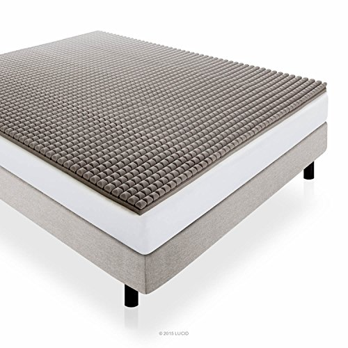 LUCID 2 Inch Bamboo Charcoal Ultra Ventilated Memory Foam Mattress Topper - King Size
