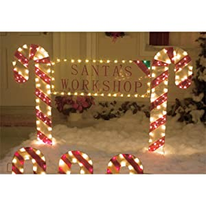 Amazon.com - Outdoor Christmas Yard Decor Candy Cane ... on Backyard Decorations Amazon id=48687