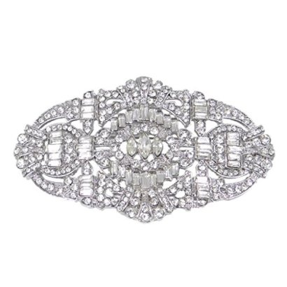 EVER-FAITH-Wedding-Art-Deco-Buckle-Brooch-Clear-Austrian-Crystal-Silver-tone