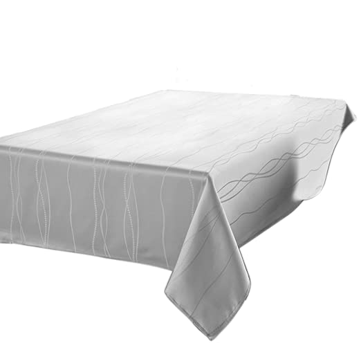 Benson Mills Gourmet Spillproof Heavy Weight Fabric Tablecloth, White, 60-inch by 120-inch