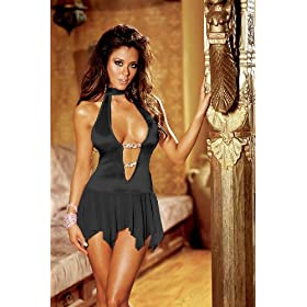Sexy Halter Dress Plunging Crystal Beads Black S or M