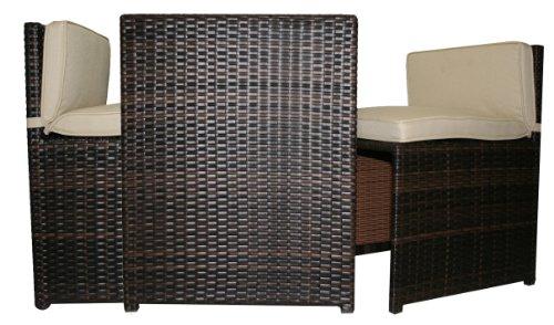 Balkon Set Garten Set Lounge Set - 1 Tisch + 2 Sessel St. Tropez Mocca Bi Color