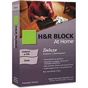 H&R Block At Home 2009 Deluxe Federal + State + eFile [Formerly TaxCut]