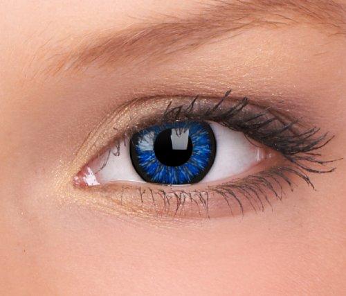 Farbige Kontaktlinsen 3-Monatslinsen & Color Contact lenses Blau / Glamour Blue 1 Paar (2 Stück) ohne Stärke