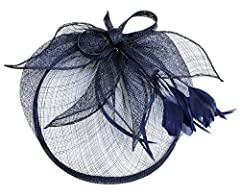 Womens Ladies Elegant Formal Flower Feather Headwear Hair Clip Fascinator (Navy Blue)