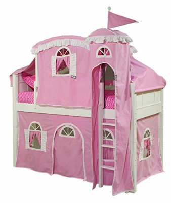 Bolton-Furniture-9881500LT5PW-Emma-Low-Loft-Castle-Bed-with-Ladder-PinkWhite-Tower-Top-Tent-and-Bottom-Curtain-Playhouse-White
