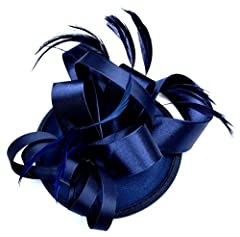 AM CLOTHES Womens Feather Flower Design Hair Clip Fascinator (Navy Blue)