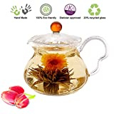 Blooming Tea Glass Teapot with Infuser Amber Fairy, 20oz/ 590 ml Non-Drip Lead Free Glass