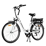 Onway 26 Inch 6 Speed Woman City Electric Bicycle, 36V 250W Aluminium Alloy E Bike with Pedal Assist and Twist Throttle