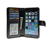 5.5-inch iPhone 6 Plus Case Folio Book Wallet Cover Vegan Leather Multi Card Pockets Clear ID Window, Money Slot, Removable Strap - Navor (Black)