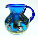 Mexican Glass Margarita or Ice Tea Pitcher, Hand Painted With Pancho Agave and Saguaro Cactus