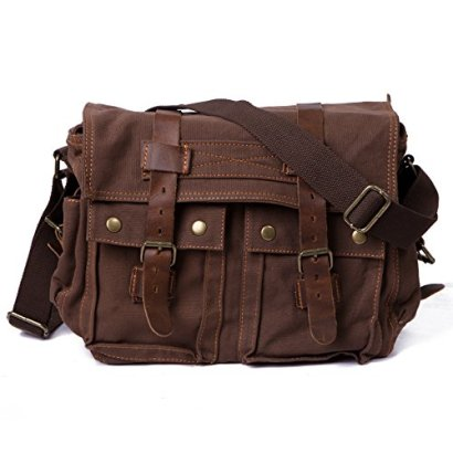 HDE-Vintage-Canvas-Military-Tactical-Ammo-Style-Shoulder-Messenger-Field-Bag-Brown
