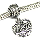 Queenberry Mothers Day Gift Sterling Silver Best Mom Love Heart Dangle Bead For Pandora Troll European Charm Bracelets