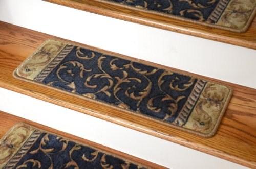 Sale Dean Premium Carpet Stair Treads Navy Scrollwork O | Dean Carpet Stair Treads | Pet Friendly | Gripper Tape | Friendly Diy | Rug | Modern Diy