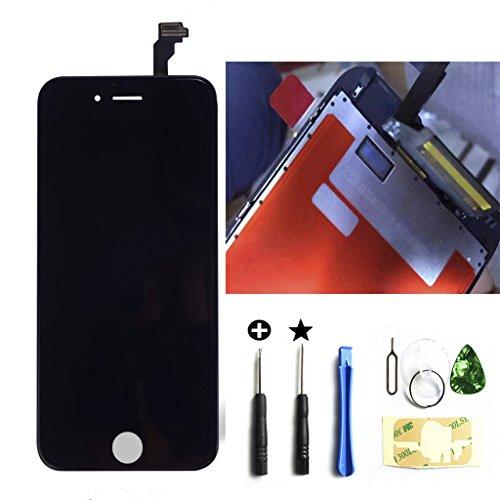 iPhone6s 4.7インチ交換修理 フロントパネル(ブラック/黒い) LCD 液晶スクリーン 3Dタッチスクリーン 修理工具(パーツ)付き 割れフロントガラスデジタイザ カスタムパーツホンムボタン付きません。(黒/ブラック)