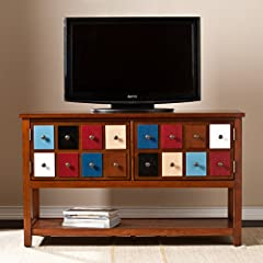 Southern Enterprises Oxnard Apothecary Console and TV Stand, Brown/Multicolor