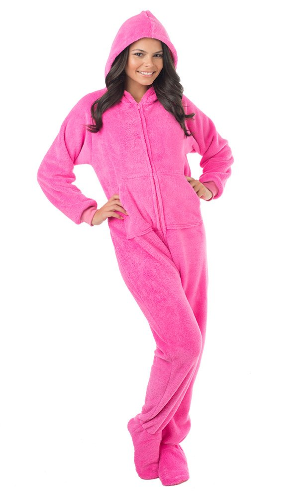 Footed Pajamas Perfect Pink Adult Hoodie One Piece