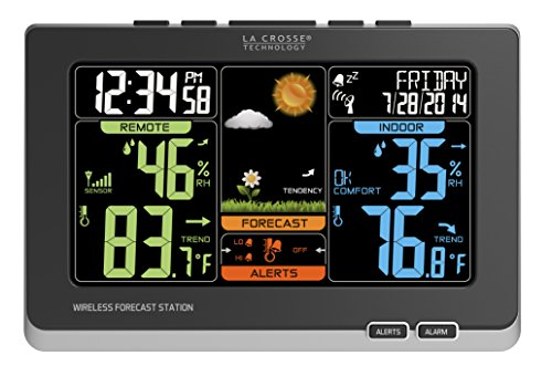 La Crosse Technology C83349 Wireless Atomic Digital Color Forecast Station with Alerts, Black