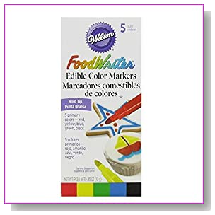 Wilton Set of 5 Bold Tip Food Writer Edible Color Markers, Primary Colors