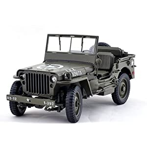 1/4 Ton US Willys Army Jeep Top Down 1/18 by Welly 18036