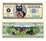 (5) Mini Schnauzer Collectible Million Dollar Bills Plus (1) Bill Protector